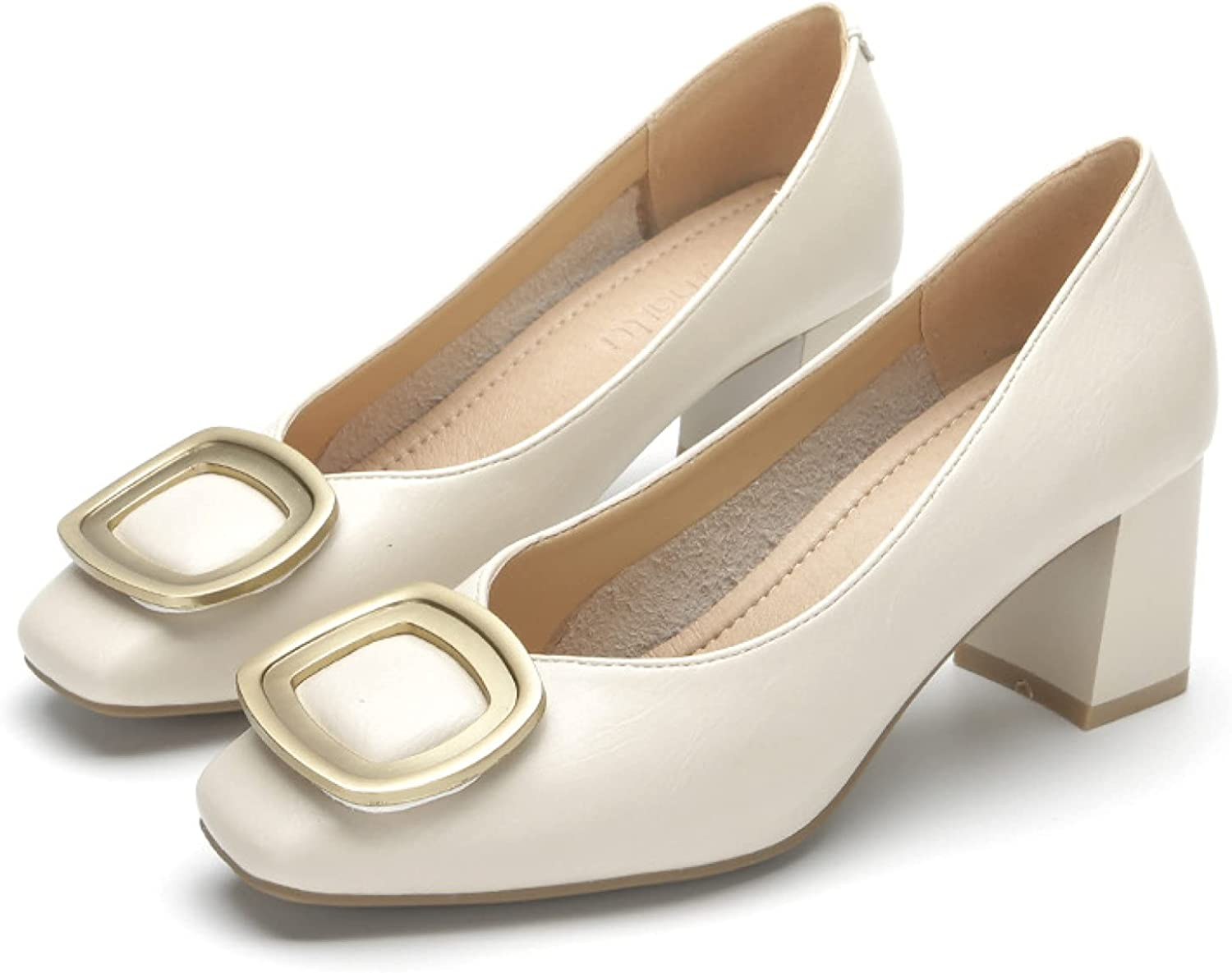 CYBLING Womens Casual Slip-ons Closed Shoe Toe Pumps Square Popular Year-end annual account standard Ligh