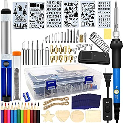 Wood Burning Kit 95pcs, West Bay Soldering Pyrography Pen with Adjustable On-Off Switch Control Temperature Wood Burning Tool for Embossing/Carving/Soldering Tips/Carrying Box