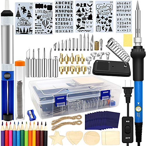 Wood Burning Kit 95pcs, West Bay Soldering Pyrography Pen with Adjustable On-Off Switch Control Temperature Wood Burning Tool for Embossing/Carving/Soldering Tips/Carrying Box DIY Birthday Gift