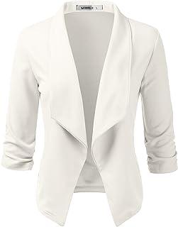 3d4f46f71df8cb Doublju Womens Casual Work 3 4 Sleeve Open Front Blazer Jacket with Plus  Size