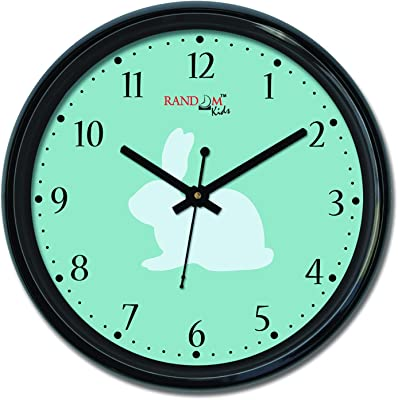 Random (RC-6512) 12 Inch Round Shaped Wall Clock with Glass (Silent Movement, Black Frame)