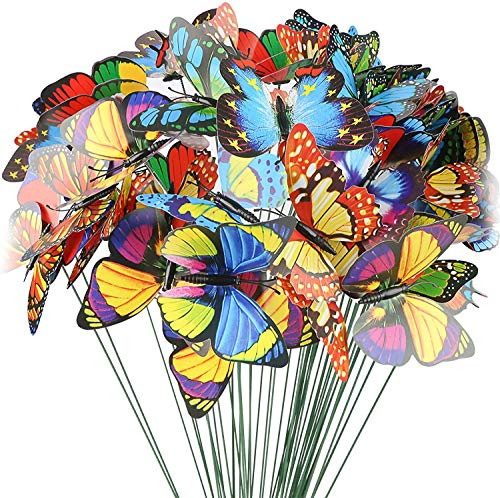 HAKACC Butterfly Stakes, 50pcs 9cm Garden Butterfly Ornaments, Waterproof Butterfly Decorations for Indoor/Outdoor Yard, Patio Plant Pot, Flower Bed, Home Decoration