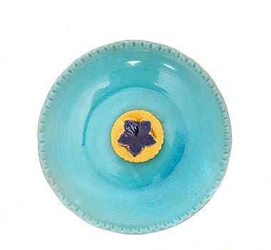 DUSVALLY Vintage Birdbath Ceramic Bird Bath Bowl Decor for Bird Bee Bath for Outdoor Patio Garden Backyard Yard,Blue with Yel