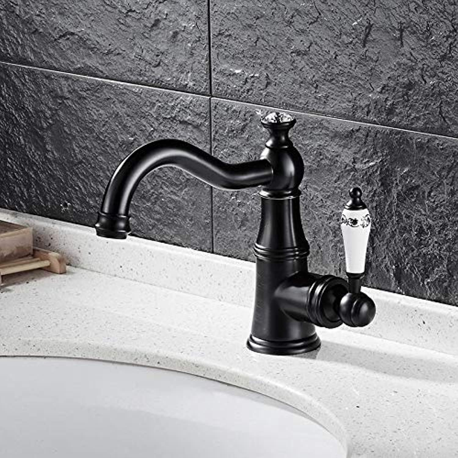 Decorry Antique Swivel Kitchen Faucets Brass Brushed Black Diamond Bathroom Faucet bluee White Porcelain Single Handle Sink Taps Hot Cold