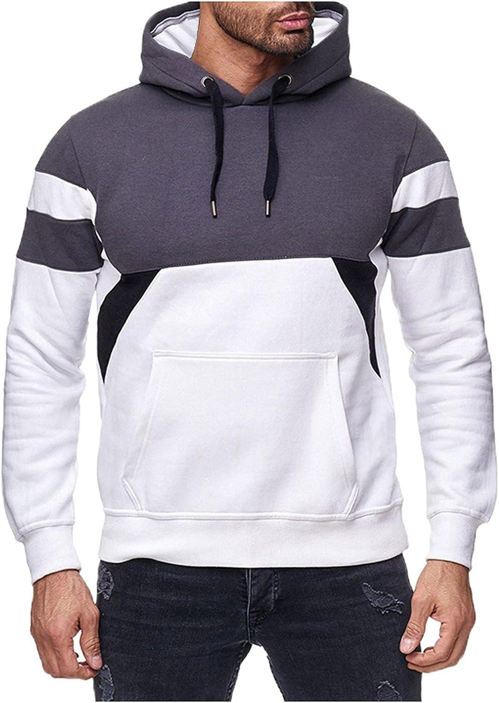 Huangse Men's Hooded Sweatshirt Color Block Long Sleeve Hoodies Pullover Tops Drawstring Jacket Hoodie for Men Women