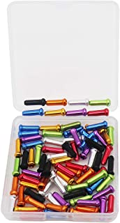 VTurboWay 8 Color 80 PCS, Cable End Crimps, Bike Cable End Caps, Alloy Road Mountain Bikes Brake Tips Shifter, 10 PCS for Each Color of Red Black Golden Silver Green Blue Purple Orange