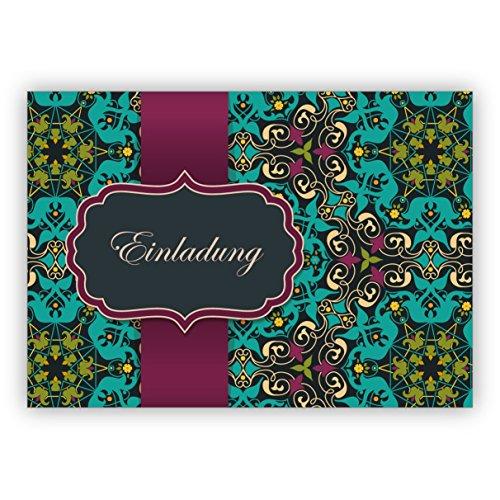 Orientalisch anmutende Einladungskarte zum Essen, Diner oder um Geburtstag, neuen Job, Examen zu feiern mit arabischem Muster im orientalischen Stil, hellblau türkis: Einladung • mit Umschlag