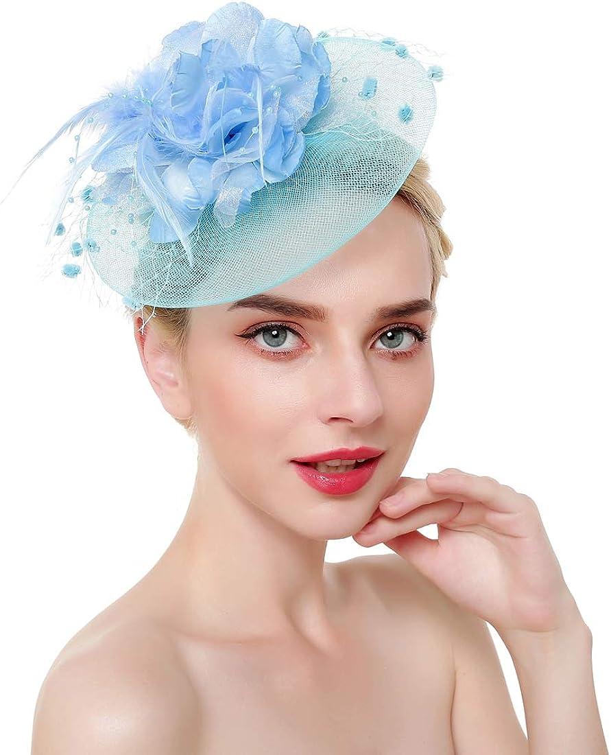 Telamee Fascinator Hat for Women Tea Party Kentucky Derby Hat Wedding Headpieces
