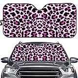 Hugding Parasol con estampado de leopardo rosa para coche, SUV, camión, furgoneta, sedán, animal guepardo, mantiene tu coche fresco