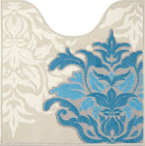 センコー デコールミュゼ サミーラ トイレマット ブルー×グレー 約60×60cm 抗菌 防臭 日本製 31928