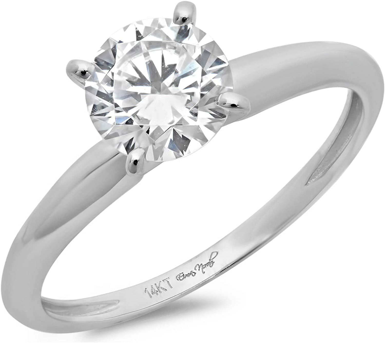14k White Gold 1.47cttw Classic Round Cut Solitaire Moissanite Engagement Promise Ring Statement Anniversary Bridal Wedding by Clara Pucci