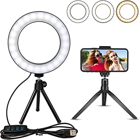 Mini LED Camera Light with Cell Phone Holder Desktop LED Lamp with 3 Light Modes /& 11 Brightness Level B-Land 6.2 Ring Light with Tripod Stand for YouTube Video and Makeup