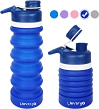 Llevargo Collapsible Water Bottle, BPA Free, FDA Approved, Food-Grade Silicone Leak Proof Portable Sports Travel Water Bottle for Outdoor, Gym, Hiking, 20oz