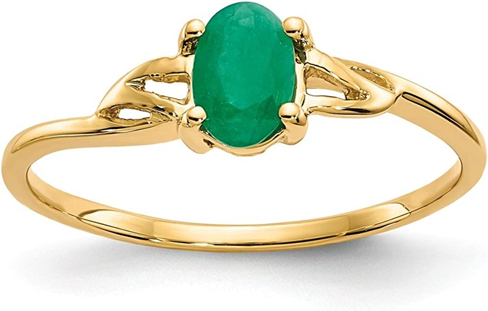 14k Yellow Gold Green Emerald Birthstone Band Ring Size 7.00 Stone May Oval Fine Jewelry For Women Gifts For Her