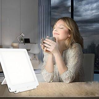 Lámpara de Luz Diurna 10000 Lux SAD Lámpara de Terapia de luz Lámpara Portátil de Luz Solar Natural con 2 Niveles de Brillo Ajustables Control Táctil Espectro LED ,Control Táctil 3 en 1 con USB