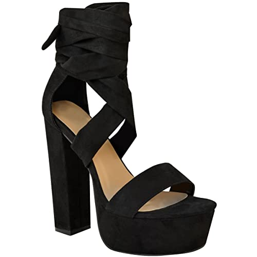 bd7bd274bd8b Fashion Thirsty Womens Lace Up High Block Heels Platforms Sandals Ankle Tie  Party Shoes Size