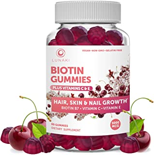 Lunaki Biotin Hair Skin and Nails Gummies with Vitamin C and E - Non-GMO Vegan No Corn Syrup Gummy Promotes Natural Collag...