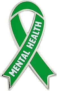 Mental Health Green Awareness Ribbon Enamel Lapel Pin