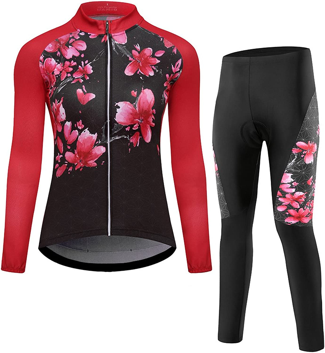 LBZE Women's Long Sleeve Fleece Cycling Jerseys Bike Jacket Padded Pants Tights Set