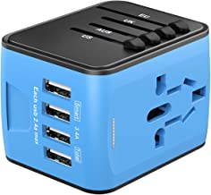 Universal Travel Adapter, Worldwide International Power Adapter with 4 USB Ports, All in One Wall Charger AC Travel Plug Adapter Converter for UK USA EU AUS Asia China Ireland Thailand 180+ Countries
