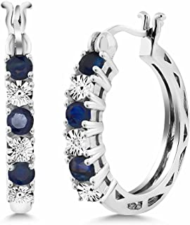Gem Stone King 925 Sterling Silver Blue Sapphire and White Lab Grown Diamond Accent Women's Hoop Earrings (0.83 Cttw, 22MM = 0.85 Inches Diameter)