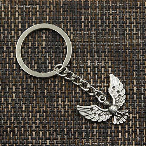 N/ A Mode Adler Falke 22x28mm Anhänger 30mm Schlüsselring Metallkette Silber Männer Auto Geschenk Souvenirs Schlüsselbund