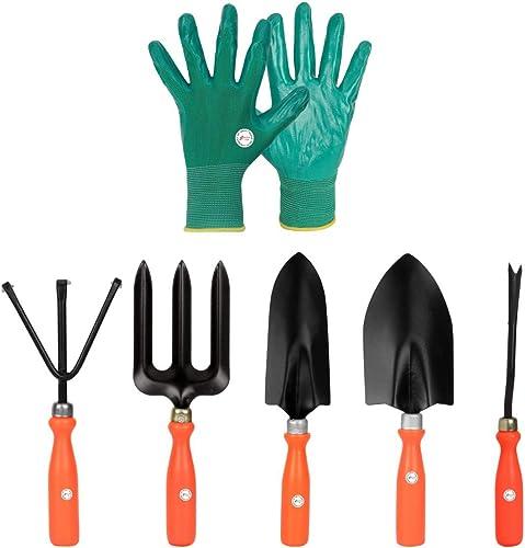 Kraft Seeds Gate Garden 5 Best Gardening Hand Tools Set with One Pair Hand Gloves for Your Garden, Orange Handle and ...