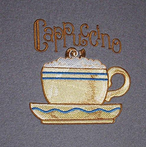 Platzset Cappuccino 2erTischset 33 x 44 cm bestickt auf grauem Wollfilz