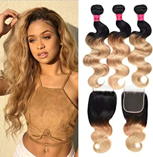 WOME 4 Bundles with 4x4 Lace Closure Brazilian Ombre Blonde Body Wave Remy Human Hair Weaves 50g/ Bundle with Handtied Closure Two Tone 1B#27 Hair Bundles (16