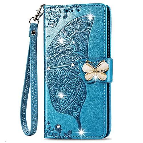 SHHIIA Funda tipo cartera para Samsung Galaxy A8 Plus, con piel sintética de alta calidad, estilo moderno, carcasa interior de TPU a prueba de golpes, compatible con Samsung Galaxy A8 Plus, color azul