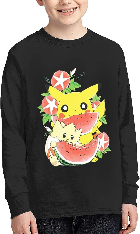 Poke Pikachu Retro Japanese Watermelon T Shirt Child Shirts Classic Long Sleeve Sweatshirts Teenager Tshirts For Boy Tops