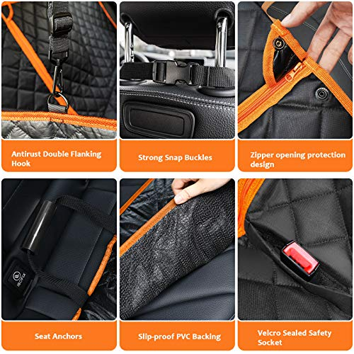 URPOWER 4-in-1 Convertible Dog Car Seat Cover 100% Waterproof Dog Seat Cover Nonslip Dog Hammock 600D Heavy Scratchproof Pet Seat Cover for Cars Back Seat with Mesh Window for Cars Trucks and SUVs