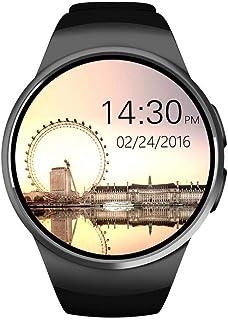 ساعة ذكية بشاشة لمس من كينغ وير KW18 تدعم البلوتوث مع بطاقة سيم\تي اف ومقياس ضربات القلب - لون اسود