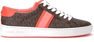 Michael Kors Woman's Sneaker with Bas-Relief Logo and Coral Leather Trim