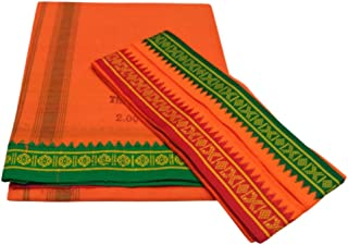 MPS Men's Cool Cotton Dhoti and Angavastram Set (Orange, Free Size - 2.00 m Approx) - Pack of 2 Piece