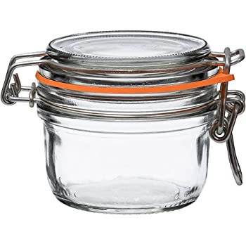 Le Parfait Super Terrine - 125ml French Glass Canning Jar w/Straight Body, Airtight Rubber Seal & Glass Lid, 4oz (Pack of 6) Stainless Wire