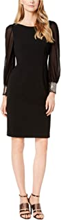 Womens Embellished-Cuff Sheath Dress, Black, 8