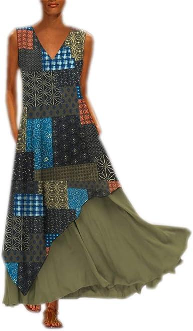 ✔piabigka✔ Vestito Estivo da Donna Abito Sciolto Manica Lunga Retro Lino Cotone Abiti Lunghi Donna Eleganti Camicetta Largo Casual Estivi Vestiti Donna Taglie Forti