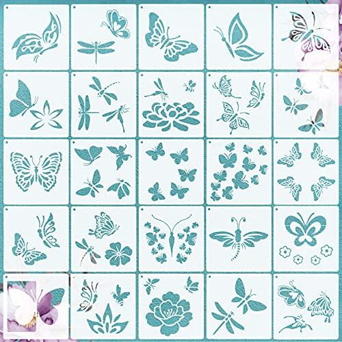 VETPW 25 Stück Schmetterling Libelle Stencil Schablonen Zeichnen, Blumen Kunststoff Wiederzuverwendend Zeichenschablonen Vorlagen Schablonen für Fenster, Fußböden, Holz, Möbel, Wanddeko, 15x15CM