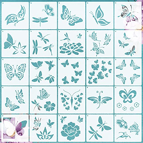 VETPW 25 Pcs Libélula Mariposa Plantillas de Pintura Reutilizables, Flores Plantillas de Dibujo DIY Set de Plantillas para Suelos, Ventana, Muebles, Madera, Diseño de Paredes, 15x15 CM