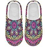 Linomo Zapatillas de flores étnicas tribales para mujer, para casa, para interior, zapatos de casa, zapatos de dormitorio, multicolor, 39/40 EU