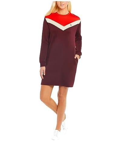 Lacoste Long Sleeve French Terry Color-Block Dress (Pruneau/Marten/Corrida) Women