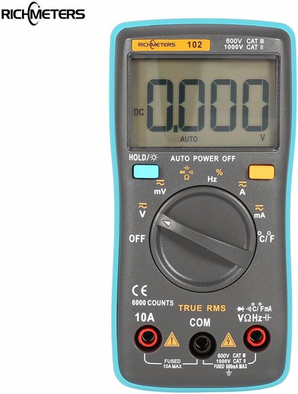 Digital Multimeter  Richmeter Rm101 Rm102 Multifunction Digital Multimeter Voltage Current Resistance Capacitance Temperature  Range Measuring Measure LCD Clip Amp TRM Advanced  1PCs