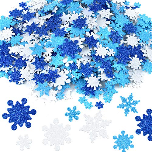 Coopay Glitter Foam Snowflake Stickers Self-Adhesive Snowflake Stickers Decals for Christmas Decoration, DIY Craft Projects, Assorted Color and Sizes