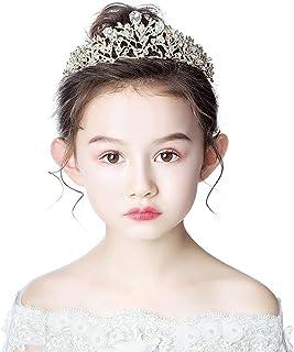 RKY Ragazze Corona, Corona Tiara Bambini Principessa Fascia Cute Girl Corona di Cristallo dell'oro Compleanno Bambini torn...