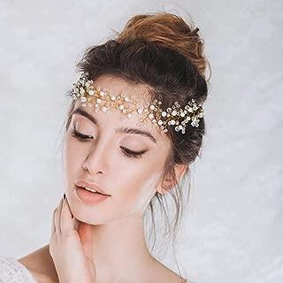 Jovono Wedding Headband Bridal Hair Vines Head Accessories Headpiece for Women and Girls (Gold)