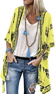 Womens Blouse Tops Kimono Floral Cardigan Cover Ups Loose Fit Jackets