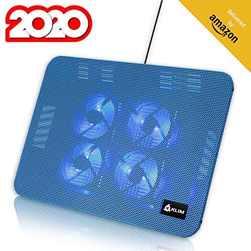 KLIM Serenity + Laptop-Kühler + 11 bis 15,6 Zoll + Perfekt für kleine und mittlere Laptops + Stabiles und Robustes Metallgitter + Geräuschloses Laptop-Kühlpad + NEU 2020 (Blau)