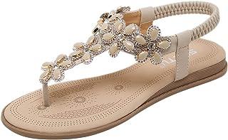 Sandalias de Vestir Mujer,LANSKIRT Zapatos Mujeres Verano 2019 Chanclas Bohemias Sandalias Romanas Planas y Confortables Z...