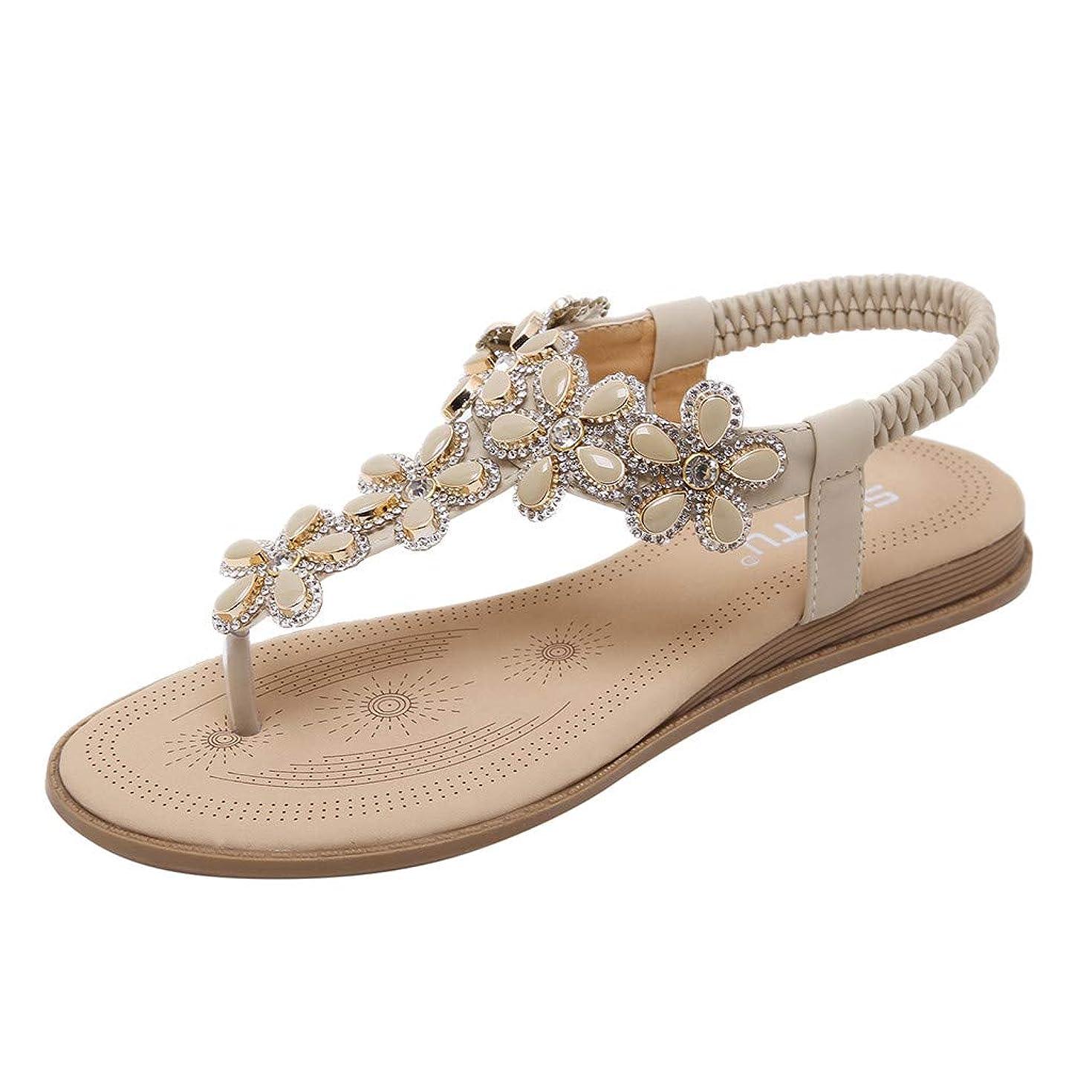 Sunhusing Ladies' Flip Flops Feet Bohemian Style Flowers Comfortable Elastic Band Flat Sandals Roman Shoes
